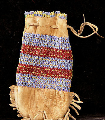 "Great Basin Small Beaded Pouch c. 1900 5"" x 2 1/2"""