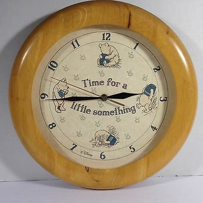 """Disney Winnie the Pooh 12"""" Round Wood Wall Clock - Time for a Little Something"""