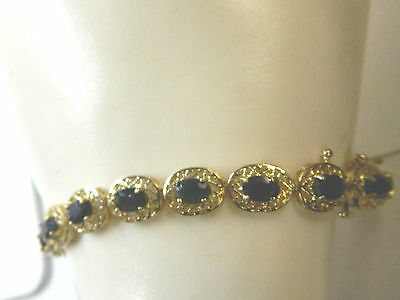 Natural 11.90 ctw Blue Sapphire Bracelet 10K Yellow Gold With Filigree work