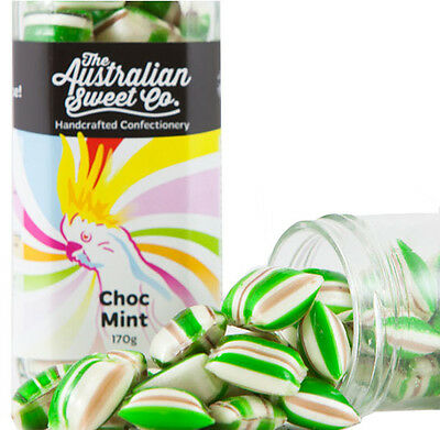 Choc Mint Humbugs Hard Boiled Handcrafted Lollies Jar - Retro. Australian made