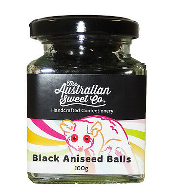 Aniseed Balls Black  Hard Boiled Lollies Jar - Retro. Australian made