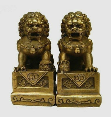 excellent Brass Folk Fengshui Foo Fu Dog Guardion Door Lion Statue Pair 7cm