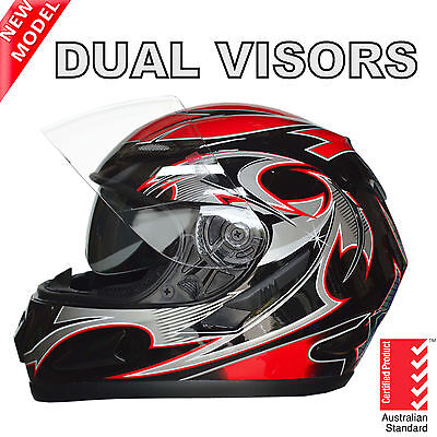 New Full Face Motorcycle Road Helmet Adult Dual Visor System Red Aust Standard