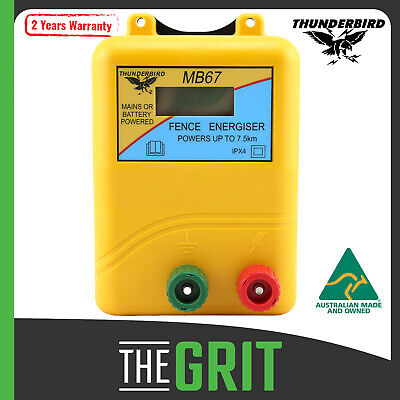 Thunderbird MB67 MB65 7.5km Mains & Battery Powered Electric Fence Energiser