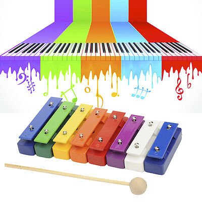 8-Note Aluminum Plate Piano Percussion Wood Pine Xylophone Kid Musical Toy