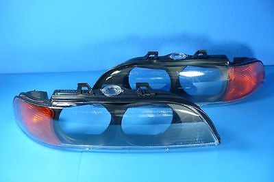 Headlight lens Left and Right YELLOW / ORANGE compatible with BMW E39 -00