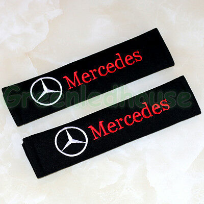 2x Black Cotton Car Seat Belt Shoulder Pads Covers Cushion For Mercedes-Benz