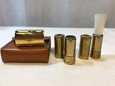 Vintage Silver Star Mini Travel Shaving Kit in Leather Case with Brush