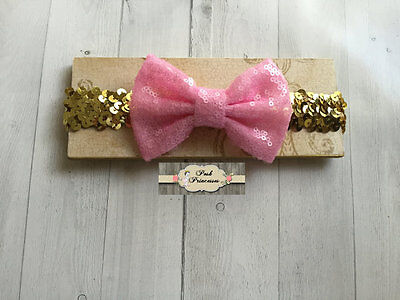 Large Pink Sequin Bow On Gold Sequin Baby Headband, Sparkle Bow Headband