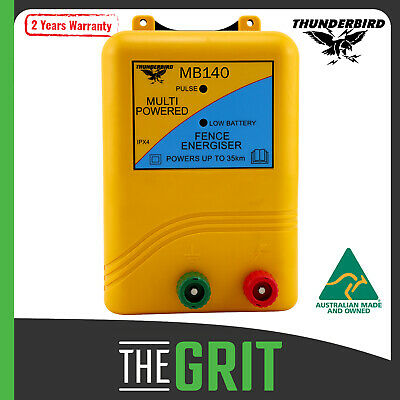 Thunderbird Electric Fence Energiser MB135 15km Mains Battery Powered Farm