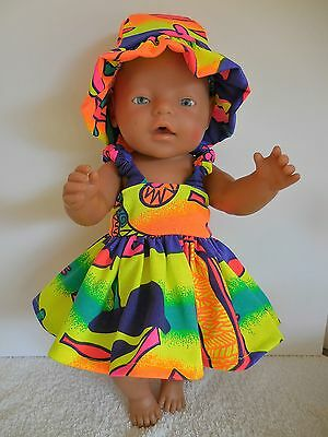 "Baby Born 17""  Dolls Clothes Bright Colours  Summer Outfit"
