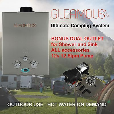 Instant LPG Portable Gas Hot Water Camp Shower Heater 4WD Caravan Dual Oulet
