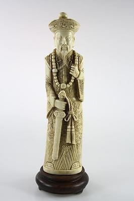 Chinese Vintage Handcarved Resin Figure Of A Courtier On Base