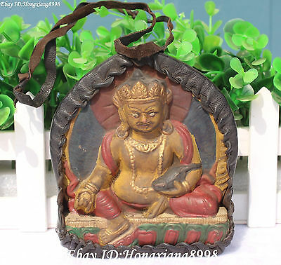 Buddhim Lether Resin Painting Yellow Jambhala Mammon Wealth God Mouse Statue