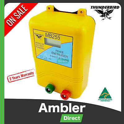 Thunderbird Electric Fence Energiser Mains Battery Powered MB255 25km Energizer