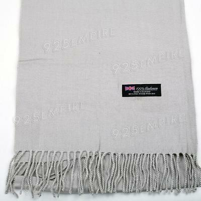 Men's 100% CASHMERE Warm PLAIN Scarf pure solid Light Gray Wool MADE IN SCOTLAND