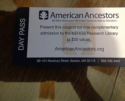 New England Historical Genelogical Society Day Passes
