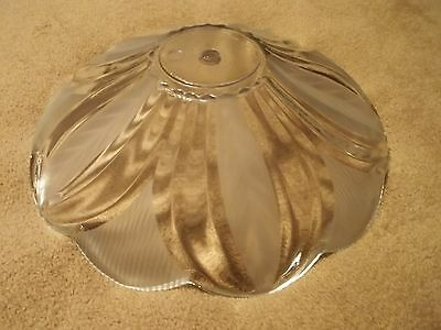 Mid Century Heavy Glass Center Mount Light Fixture Ceiling Shade, Free S/H