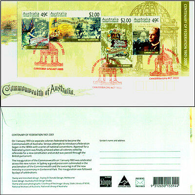 Australian 1901-2001 $5 Fed Mini-Sheet CTO FDC Canberra Ovpt Commemorative Issue