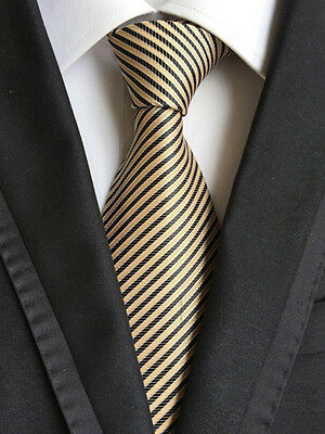 126KT 2016 mens 100% silk neck tie black yellow slim stripes formal party ties