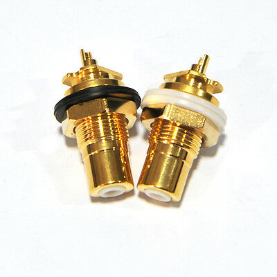 50Pairs OFC 24K Gold Plated RCA Female Socket Amplifier Chassis Connector HiFi