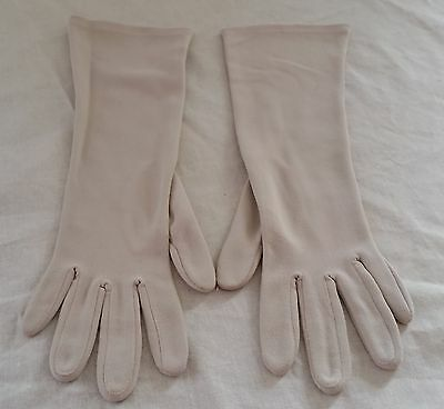 Vintage 1960s Glovers Hong Kong BEIGE Nylon Mid Length Gloves ONE SIZE