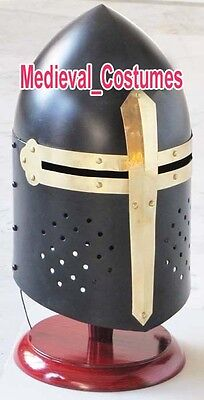Medieval Black Knight Sugarloaf Armour Helmet W/ Wooden Stand Reenactment Larp
