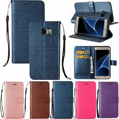 Flip Leather Wallet Card Strap Stand Case Cover For Samsung Galaxy S5 S6 S7 Edge