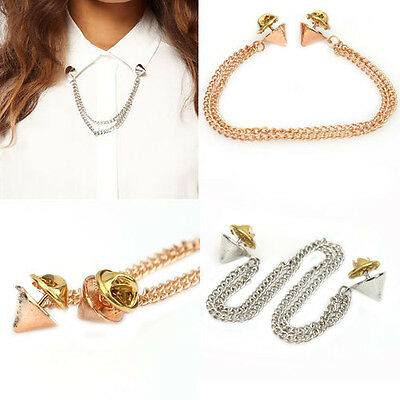 Women OL Style Rock Chains Spike Rivets Stud T-shirt Collar Tips Brooch Spirited