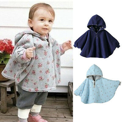 New Kid Baby Toddler Reversible Hooded Cape Cloak Poncho Coat Jacket Outwear SN