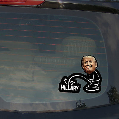 "Donald Trump Pence Anti Hillary Bumper Stickers Decals Peeing Funny 5"" Inches"