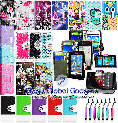 Various Pu Leather Magnetic Flip Wallet Case Cover For Mobile Phones + Stylus
