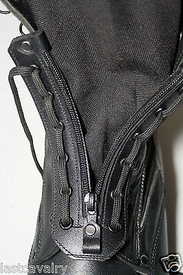 Lace up zipper for combat and jungle boots real black leather 9 eye