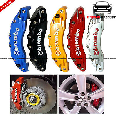 4x 3D Brembo Style Race Red Brake Caliper Cover Disc Car Front & Rear BMW Mazda