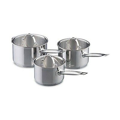 New Baccarat Signature Stainless Steel 3 Piece Cookset + FREE Baccarat Sharpener