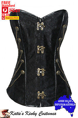 Overbust Corset Black Steampunk with Chains and matching Thong Small to 2XL