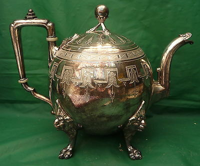 Rare Fab Decorative Antique Ep Silver Plate Teapot Afternoon Tea Kitchen Display