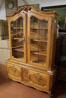 Louis Xv Style - French Carved Oak Vitrine Glazed Display Cabinet - (030050)