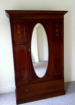 Ornate Antique Vintage Retro Wardrobe with Mirror, Drawers and Matching Chair