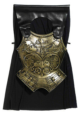 Roman Golden Ornamented Chest Plate With Black Cape Adult Fancy Dress