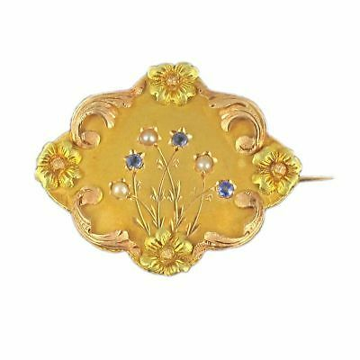 SUPERBE RARE Broche ancienne saphirs perles fines Or jaune 18K 1900-1920 Brooch