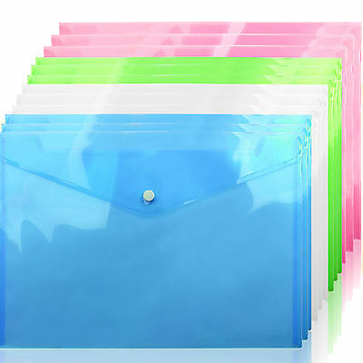 12/24Pc A4 Plastic Stud Document Wallets Folders Filing Paper Storage Office