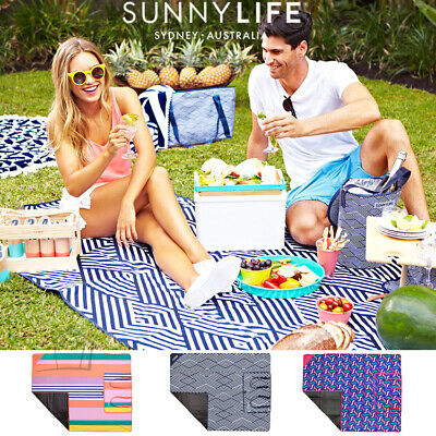New SUNNYLIFE Picnic Blanket Beach Mat - Zip Close Rug w Carry Handle Authentic