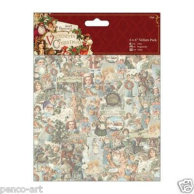 "Docrafts 6x6"" Victorian Christmas113gsm Vellum paper 10 pack for Parchment craft"