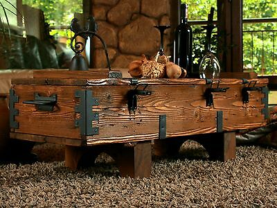 Old Chest Box Table shabby chic Wood Side table Wooden chest Coffee table 14A