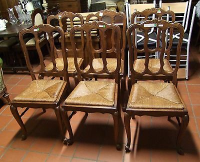Louis XV Style French Carved Oak Set of 6 Dining Chairs  - (030101)