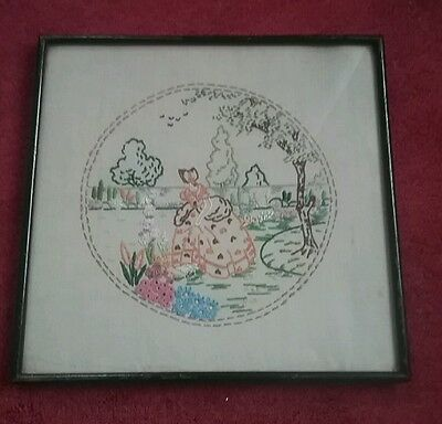 Vintage framed needlepoint  tapestry lady in garden