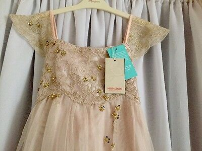 BNWT MONSOON ESTELLA GOLD EMBROIDERED PARTY WEDDING DRESS 10 Years