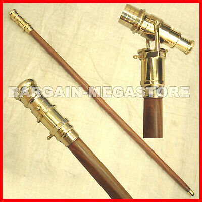 Handmade Wooden Walking Stick Cane Solid Brass Telescope Handle Nautical Gift