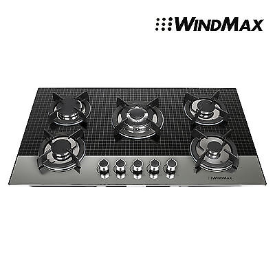 Windmax Coated Glass 5 Burner Built-In Stove NG Gas + LPG Cooktop Cooker